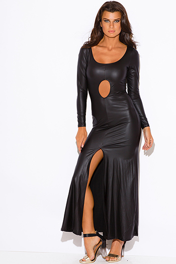 $15 - Cute cheap black slit sexy party maxi dress - black faux leather cut out high slit long sleeve formal evening party maxi dress