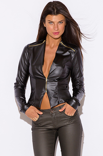 $25 - Cute cheap cute juniors fitted career blazer jacket 55345 - black liquid faux leather wet look fitted golden zipper long sleeve blazer top
