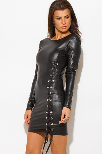 $20 - Cute cheap love point dress - black long sleeve faux leather laceup bodycon fitted open back mini sexy club dress