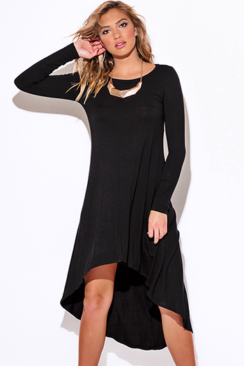 $15 - Cute cheap cute juniors dolman sleeve color block ruched sexy clubbing dress - black long sleeve high low jersey dress