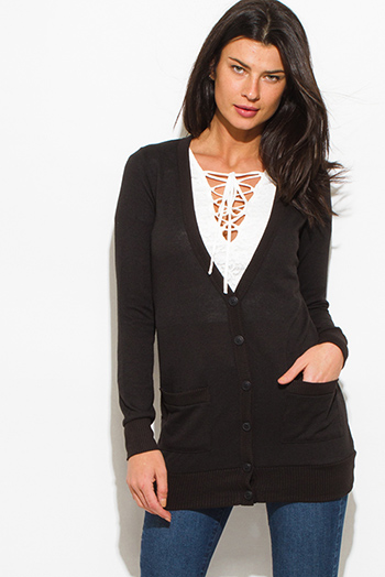 $15 - Cute cheap ribbed slit top - black long sleeve pocketed ribbed knit hem boho button cardigan top