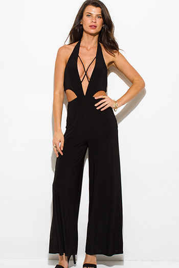 $25 - Cute cheap black backless sexy party jumpsuit - black low cut v neck halter criss cross cut out backless wide leg evening party jumpsuit
