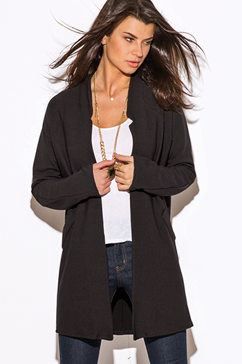 $25 - Cute cheap jacket - black mandarin collar open coat jacket