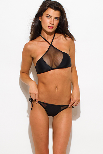 $25 - Cute cheap black mesh caged panel halter neck sexy party swimsuit set