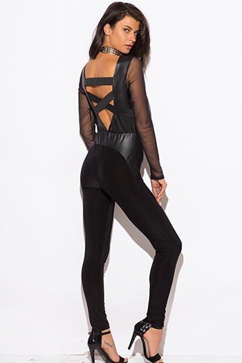$15 - Cute cheap jumpsuit for women - black mesh long sleeve fitted caged cut out backless sexy clubbing catsuit jumpsuit