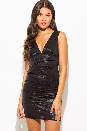 $20 - Cute cheap black leather mini dress - black metallic sleeveless low v neck ruched bodycon fitted bandage cocktail party sexy club mini dress