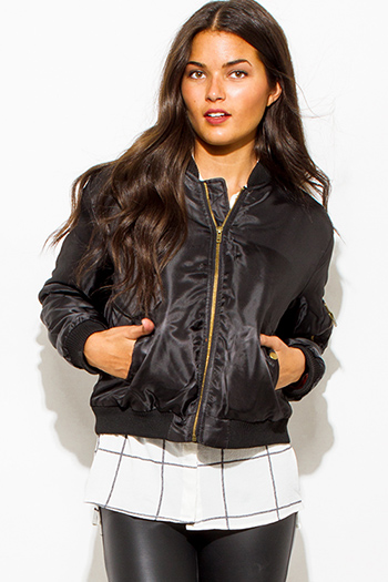 $25 - Cute cheap white chiffon contrast long sleeve military zip up bomber jacket top - black military long sleeve zip up pocketed puff bomber jacket