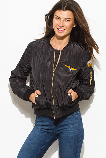 $30 - Cute cheap caramel brown faux leather ribbed bomber moto jacket - black military zip up pocketed patch embroidered puff bomber jacket