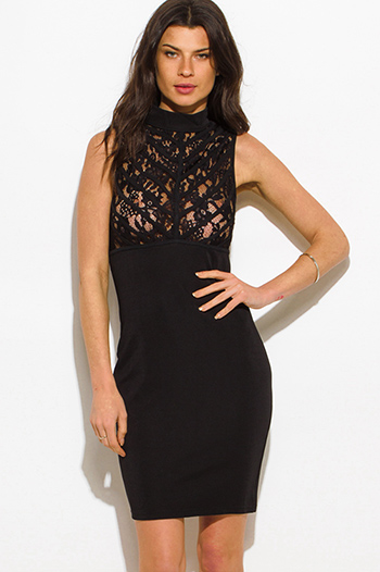 $15 - Cute cheap lace backless evening dress - black mock neck sleeveless sheer lace caged bodycon fitted sexy club midi dress