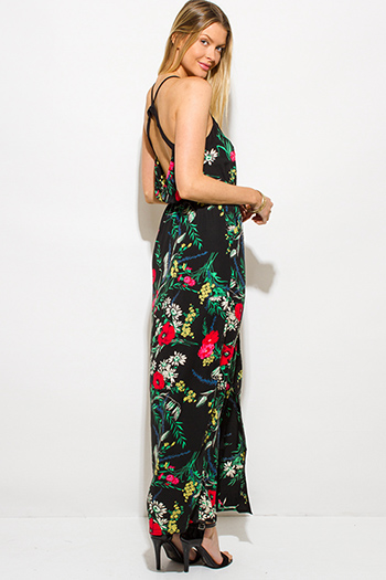 $20 - Cute cheap wrap evening dress - black multicolor floral print button up open back pocketed slit evening maxi sun dress