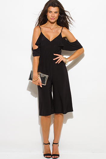 $20 - Cute cheap black v neck jumpsuit - black off shoulder bustier v neck flutter sleeve wide leg evening sexy party playsuit jumpsuit