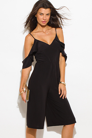 $10 - Cute cheap v neck slit jumpsuit - black off shoulder bustier v neck flutter sleeve wide leg evening sexy party playsuit jumpsuit