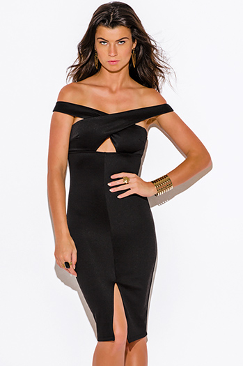 $10 - Cute cheap green fitted midi dress - black off shoulder cut out slit pencil cocktail party bodycon fitted sexy clubbing midi dress
