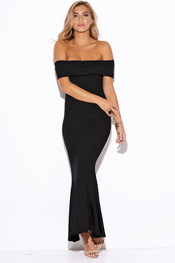 $15 - Cute cheap off shoulder dress - black off shoulder fold over evening sexy party jersey maxi dress