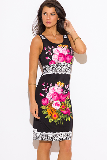 $15 - Cute cheap dress - black pink floral print shift midi sexy party dress