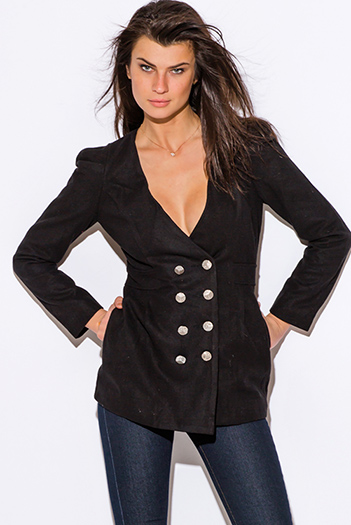 $25 - Cute cheap coat - Black puff shoulder long sleeve double breasted peacoat wool jacket
