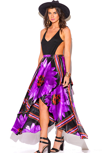 $15 - Cute cheap backless open back sun dress - black purple floral scarf print backless summer sexy party resort sun dress