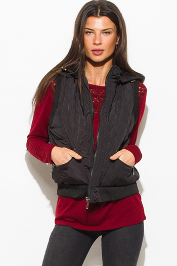$20 - Cute cheap pocketed vest - black quilted faux fur lined front zip banded hooded zipper pocketed cropped puffer vest