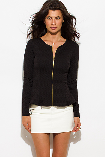 $20 - Cute cheap black peplum sexy party top - black quilted long sleeve zip up peplum blazer light jacket top