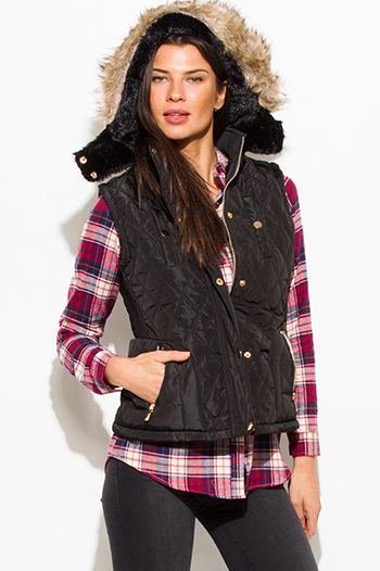 $25 - Cute cheap pocketed vest - black quilted suede contrast faux fur lined golden button zip up hooded pocketed vest