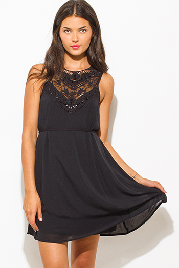 $20 - Cute cheap black boho crochet dress - black rayon gauze textured embellished crochet contrast sleeveless boho mini peasant dress