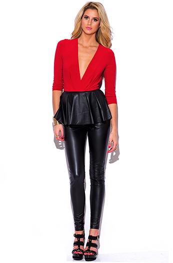 $10 - Cute cheap golden fox black faux leather wrap bracelet 82197 - black red faux leather peplum fitted bodycon evening sexy party catsuit jumpsuit