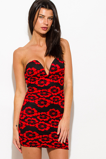 $15 - Cute cheap fitted party dress - black red floral lace print sweetheart deep v neck strapless bodycon fitted sexy club mini dress
