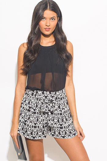 $10 - Cute cheap ethnic print shorts - black regal print tie waist boho resort lounge shorts