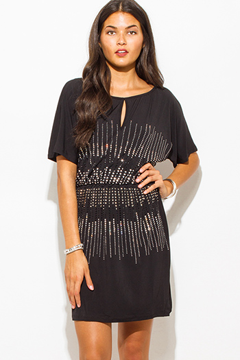 $20 - Cute cheap shift sexy party mini dress - black rhinestone bejeweled short sleeve keyhole cocktail party shift mini dress