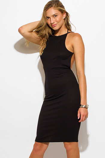$15 - Cute cheap backless cocktail midi dress - black ribbed knit jersey strappy halter backless sexy party midi dress