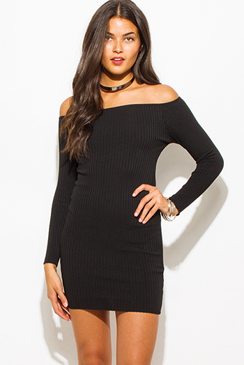 $25 - Cute cheap draped asymmetrical dress - black ribbed knit off shoulder long sleeve fitted bodycon sexy club sweater mini dress