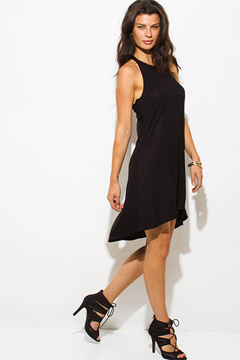 $15 - Cute cheap black dress - black ribbed knit sleeveless halter keyhole racer back tunic top mini dress
