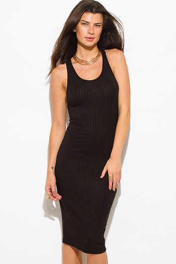 $20 - Cute cheap khaki open back dress - black ribbed knit sleeveless scoop neck racer back bodycon fitted sexy club midi dress