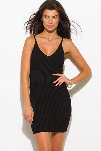 $20 - Cute cheap black slit open back sexy party dress - black ribbed knit thin strap v neck open back fitted bodycon sweater midi dress