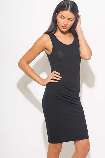 $15 - Cute cheap black ruched dress - black ruched sleeveless bodycon fitted sexy party midi dress