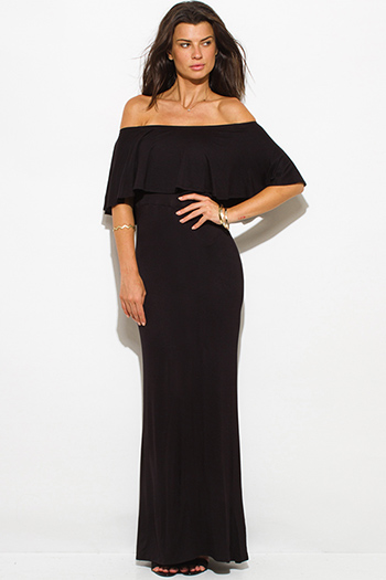 $20 - Cute cheap strapless slit formal dress - black rayon jersey ruffle off shoulder tiered formal evening maxi sun dress