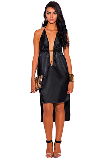 $20 - Cute cheap black sexy party midi dress - black satin bejeweled deep v neck high low babydoll midi cocktail party evening dress