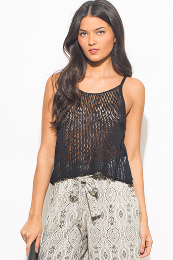 $10 - Cute cheap black floral embroidered boho strapless beach cover up tunic top - black see through crochet racer back boho sexy party tank top