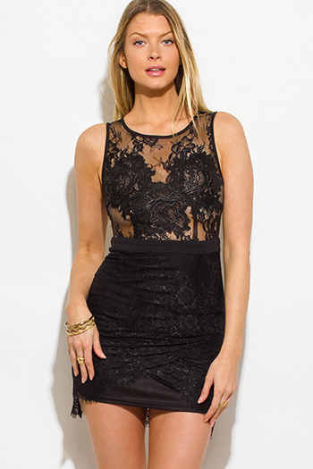 $20 - Cute cheap leather mini dress - black see through lace scallop hem sleeveless bodycon cocktail sexy party mini dress