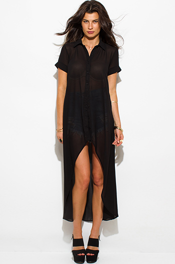 $20 - Cute cheap clothes - black semi sheer chiffon button up high low hem tunic top shirt dress