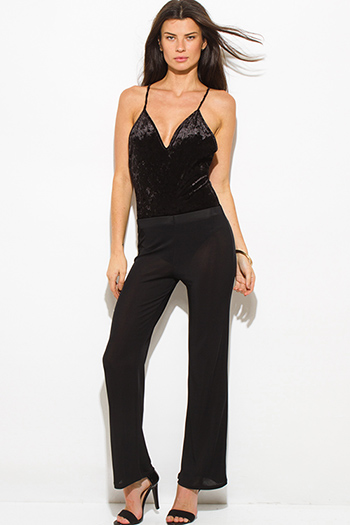 $7 - Cute cheap black strapless belted high waisted crochet jumpsuit - black semi-sheer high waisted flare pants
