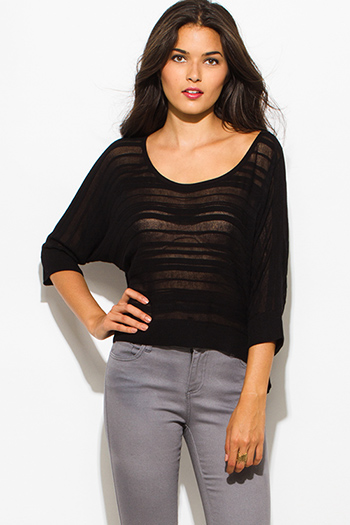 $15 - Cute cheap black laceup indian collar quarter sleeve boho blouse top - black semi sheer stripe scoop neck dolman quarter sleeve sweater knit top