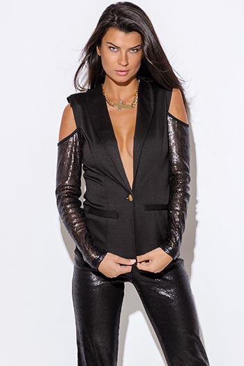 $25 - Cute cheap black satin chiffon long sleeve bejeweled cut out tunic blouse - black sequined long sleeve cold shoulder cut out blazer jacket