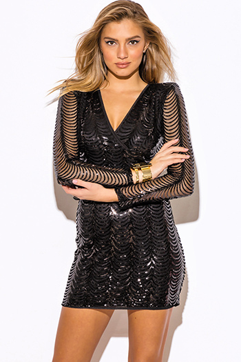 $30 - Cute cheap fitted dress - black sequined sheer long sleeve padded shoulder v neck fitted cocktail party sexy club mini dress