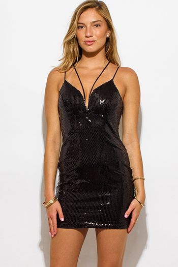 $15 - Cute cheap leather party mini dress - black sequined strappy deep v neck caged backless cocktail party sexy club mini dress