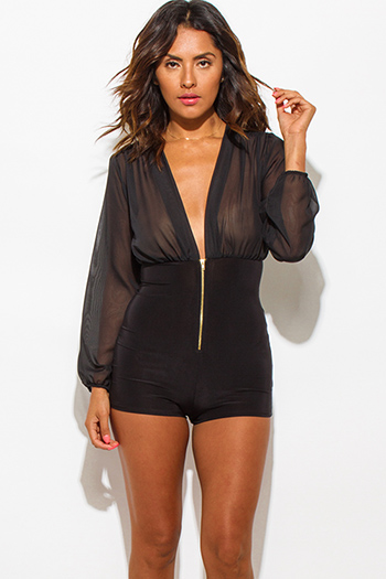 $20 - Cute cheap sexy club romper - black sheer chiffon deep v neck contrast bodycon zip up club romper jumpsuit