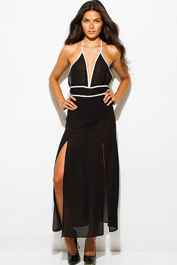 $15.00 - Cute cheap draped maxi dress - black sheer chiffon halter bodysuit double high slit backless evening maxi dress