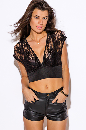 $5 - Cute cheap top - black sheer lace kimono sleeve crop sexy clubbing top