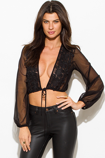 $15 - Cute cheap lace sheer long sleeve crop top - black sheer mesh deep v neck crochet lace trim drawstring hem blouson long sleeve cropped blouse top