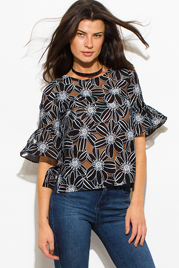 $15 - Cute cheap crepe top - black sheer rayon floral print quarter bell sleeve boho blouse top